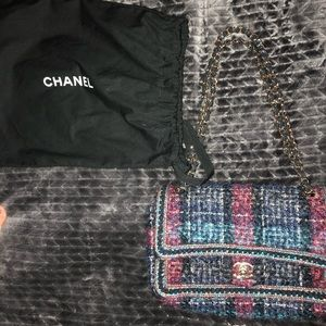 Authentic Chanel Tweed blue pink classic purse bag